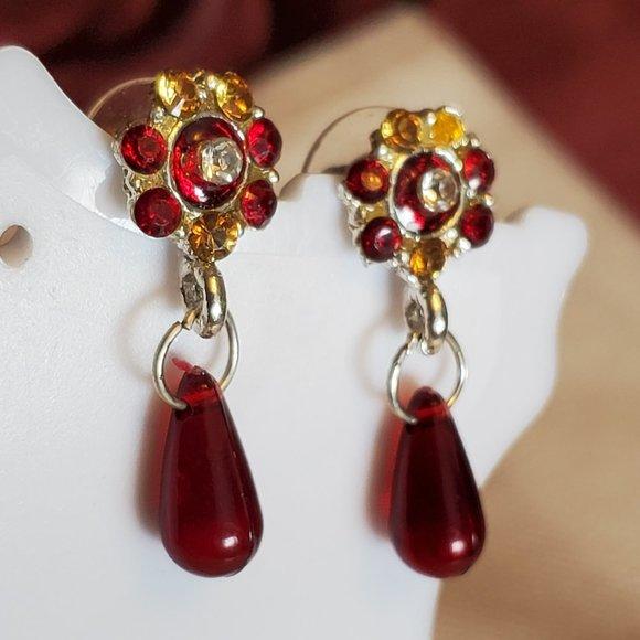 Silver Tone Rhinestone Flower Dangle Hook Earrings